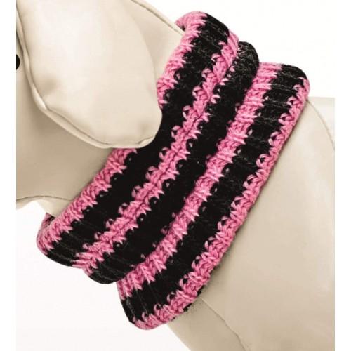 Scaldacollo per cani in maglia, strisce rosa e nero