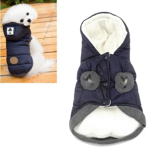Piumino invernale per cani, con cappuccio, colore blu notte