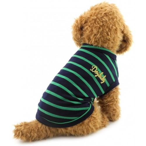 Maglia per cani in cotone, strisce nere e verdi, elastica e calda