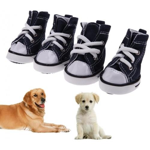 Set 4 scarpe da ginnastica di tela per cani, antiscivolo e resistenti