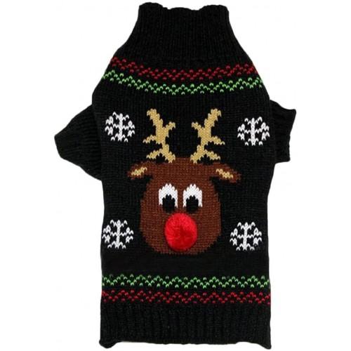Costume di Natale per cani, maglione con dolcevita, renna Natalizia