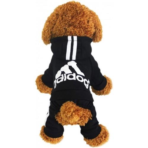 Tuta Adidog nera per cagnolini, alla moda, sportiva