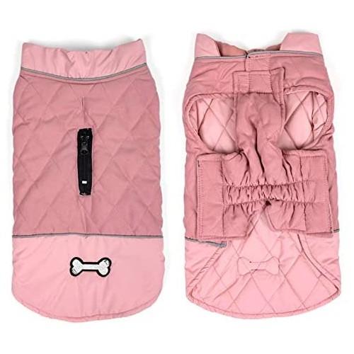 Cappotto per cani invernale, trapuntato morbido, colore rosa