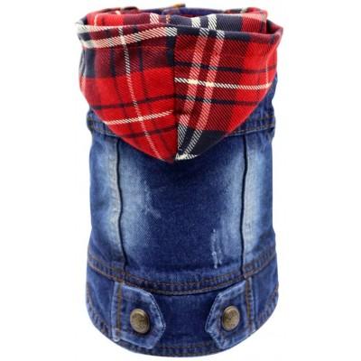 Giacca di Jeans per cani, Blu Vintage con cappuccio scozzese