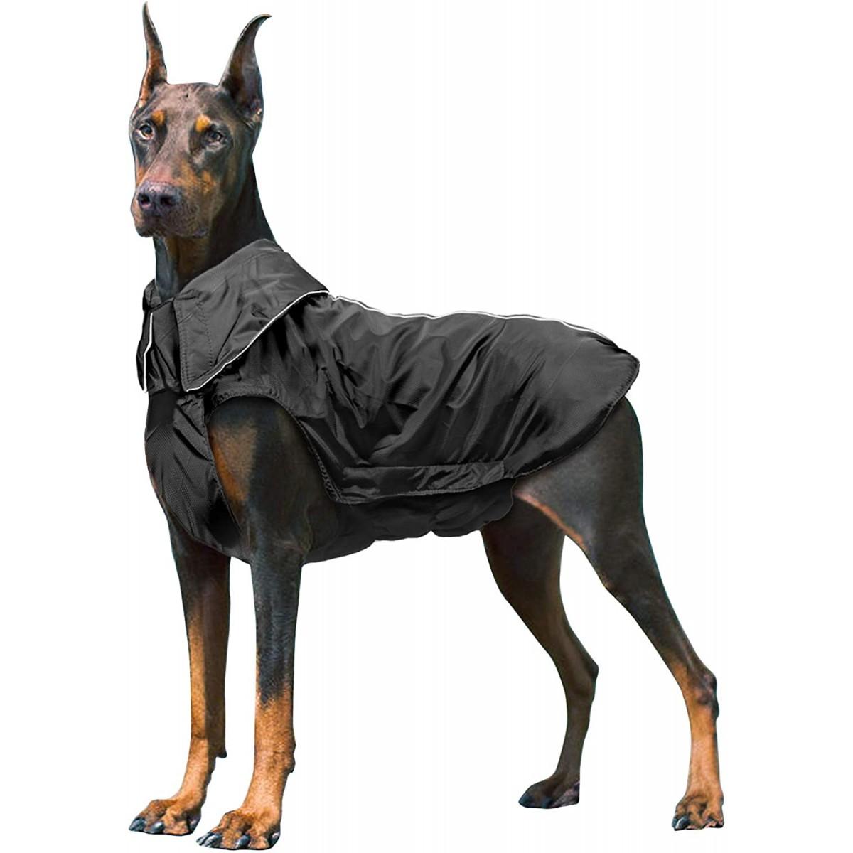 Cappotto impermeabile per cani, colore nero, invernale