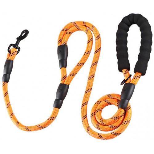 Guinzaglio per cani da 1,8 mt, con comoda impugnatura, arancione e nero