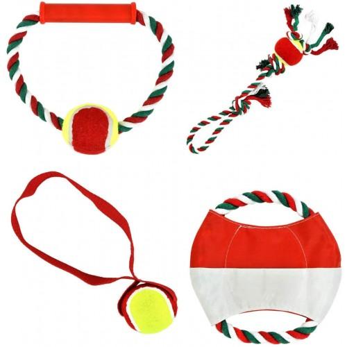 Set da 4 giocattoli per cani, corda, Frisbee, Palla tirante