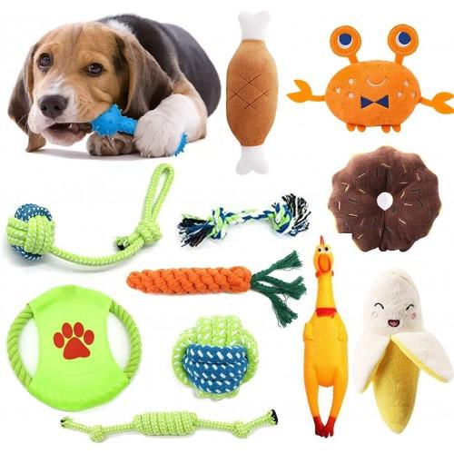 Set da 12 Giocattoli per cani, con peluche, corde e palline