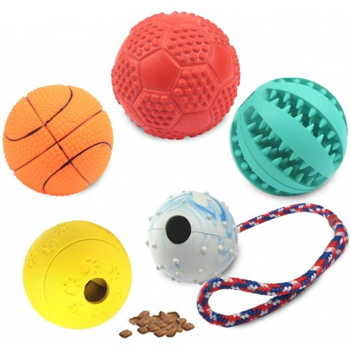 Set da 5 palline per cane, con corda, morbide e colorate