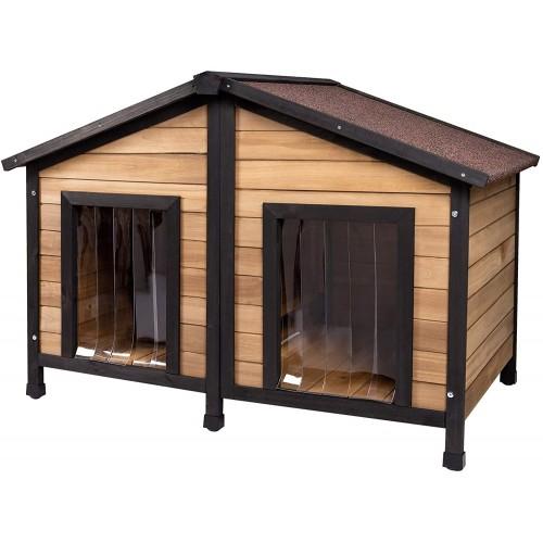 Cuccia in legno per cani, doppio ingresso, con tetto apribile
