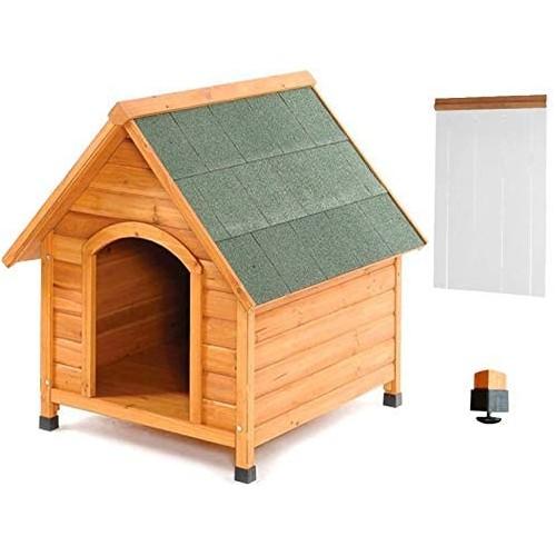 Cuccia in legno per cane con tendina termica e piedi regolabili