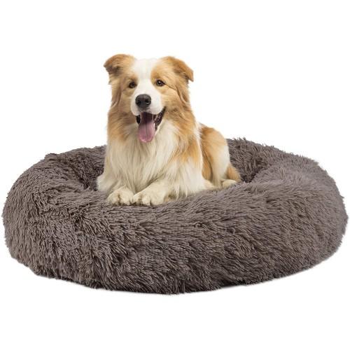 Letto ciambella in peluche per cani, comoda e calda