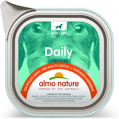 Cibo umido senza glutine con Vitello e Carote - Almo Nature, 32 confezioni