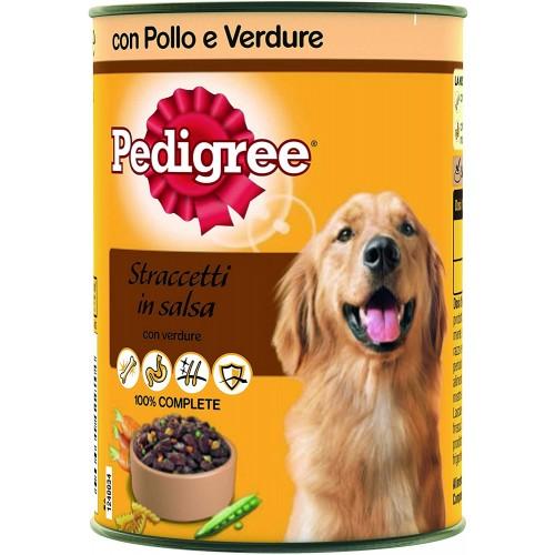 Set da 24 lattine con straccetti in Salsa con Pollo e Verdure per cani