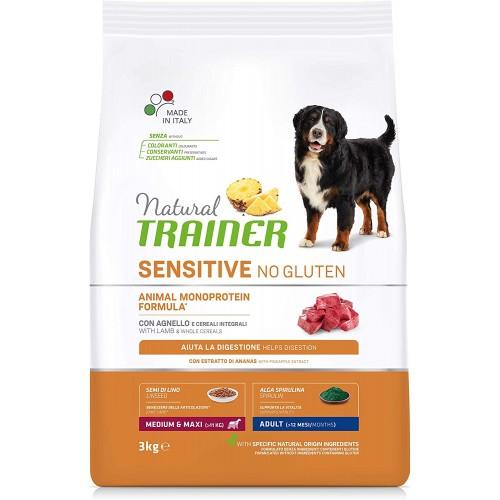 Cibo per cani, crocchette con agnello e cereali Integrali - Natural Trainer Sensitive, da 3 Kg