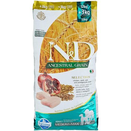Crocchette per cani adulti pollo e melograno - Farmina N&D da 15 Kg