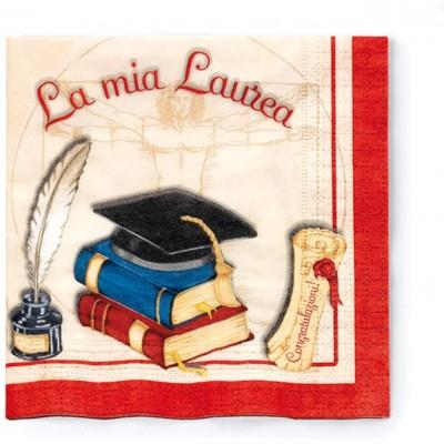 Set 20 tovaglioli monouso festa Laurea, accessori per la tavola