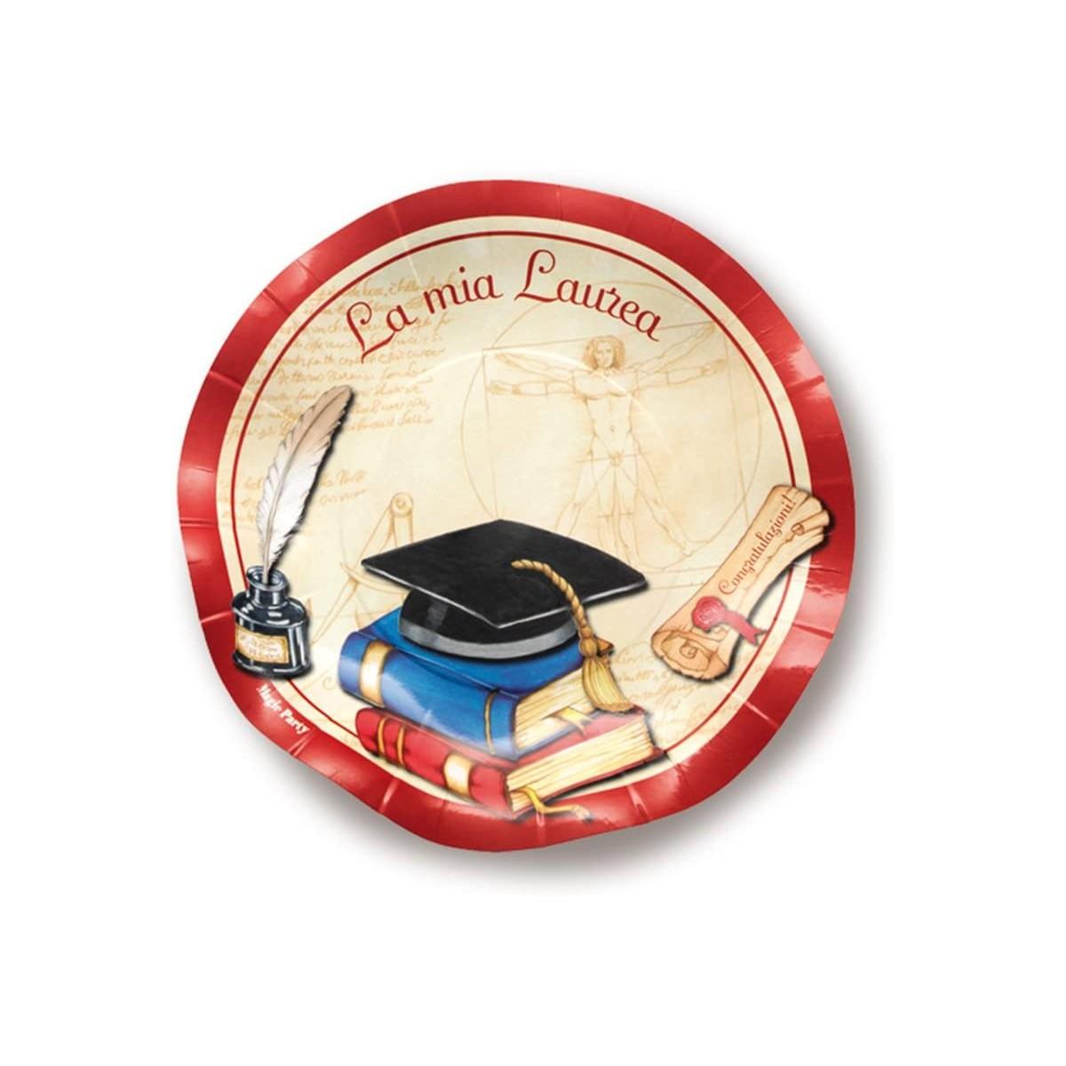 Piatti dessert Laurea, da 21 cm, in cartoncino, 10 pezzi