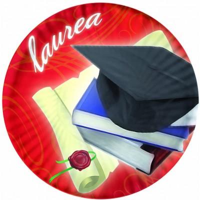 Set da 10 Piatti Laurea 18 cm, in cartoncino, accessorio per feste