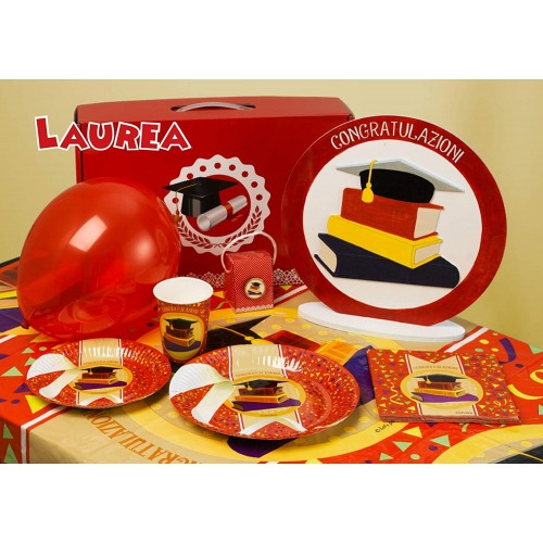 Kit per 20 persone festa Laurea, coordinato tavola