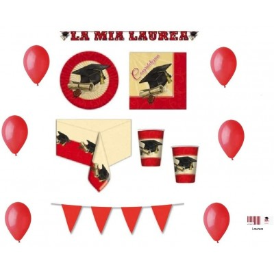 Kit per 40 invitati per festa Laurea Vintage, accessori tavola