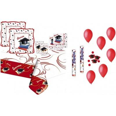 Set tavola per 40 invitati tema Laurea, con accessori e palloncini