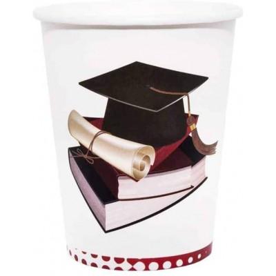 Set 8 bicchieri in cartoncino tema Laurea, per feste indimenticabili