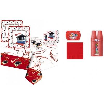 Kit 8 invitati Laurea con kit 30 monocolore rosso