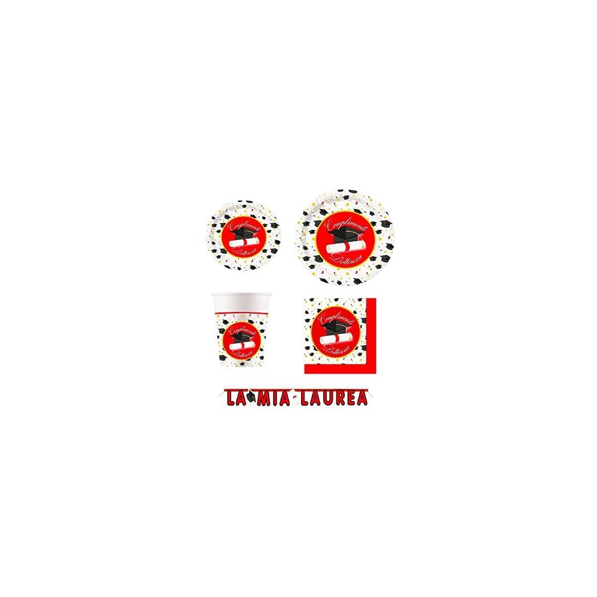 Kit per 20 persone tema Laurea dottoressa, con accessori e decorazioni