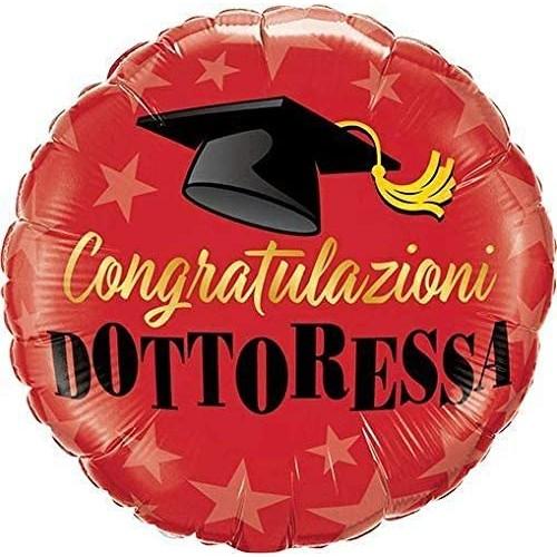 Palloncino Congratulazioni Dottoressa - foil Laurea, da 23 cm