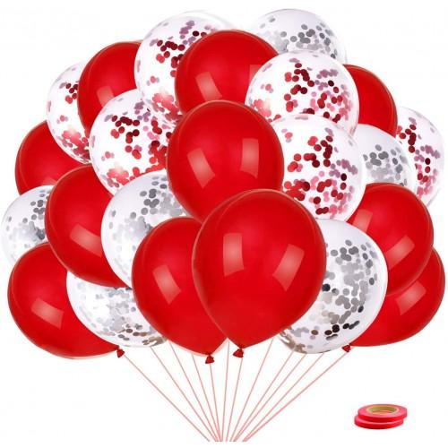 Set 40 Pezzi Palloncini in lattice bianchi e rossi, con coriandoli e nastrini