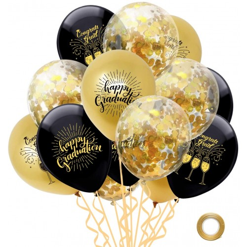 Set 15 palloncini felice laurea colore oro e nero, con coriandoli