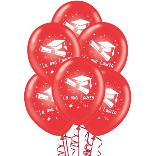 Set da 20 palloncini Laurea colore rosso e stampa bianca