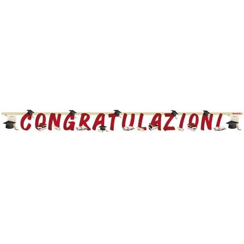 Festone Congratulazioni Laurea da 267x23,5 cm, accessorio da appendere