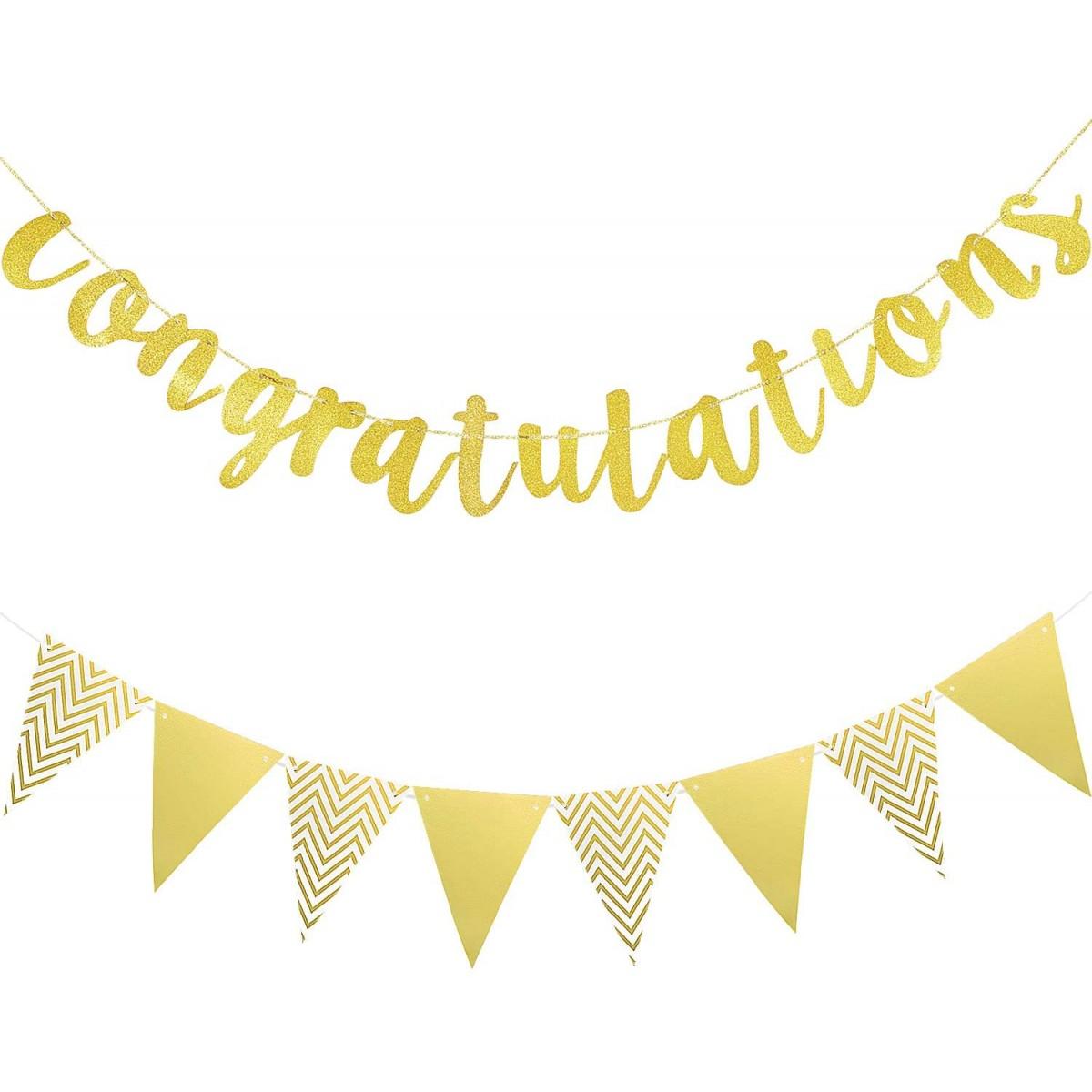 Festone laura Congratulazioni Glitter Oro, accessorio per feste