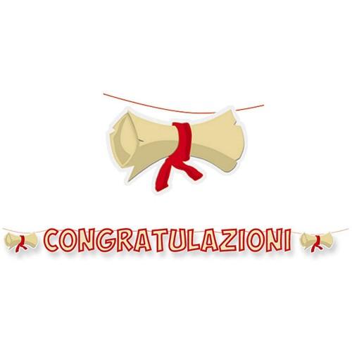 Festone Laurea con congratulazioni e pergamene, 6 metri