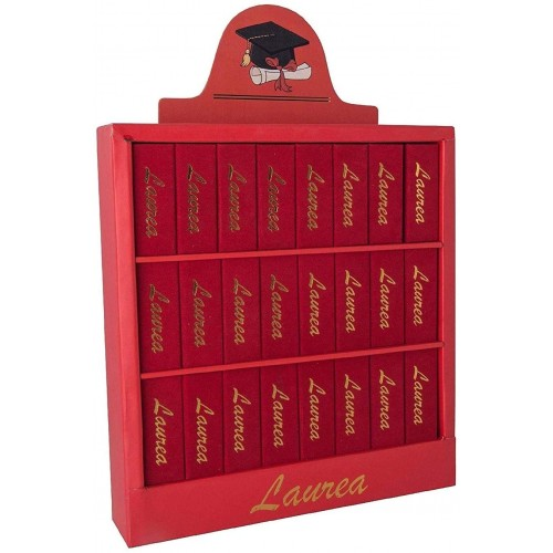 Libreria con 24 scatoline portaconfetti Laurea, bomboniere originali