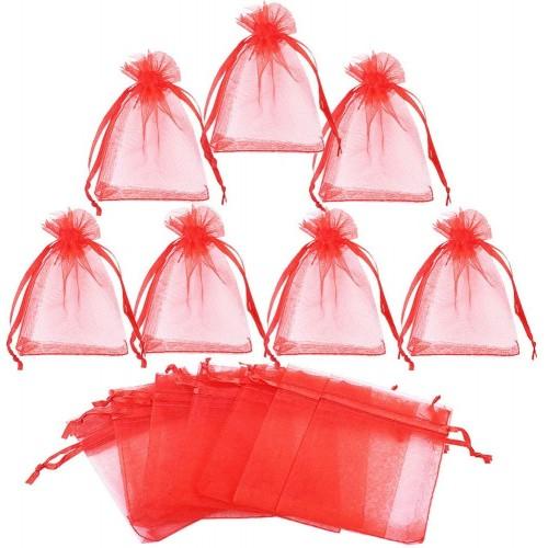 Set da 100 sacchetti organza rossi 7 x 9 cm, per bomboniere