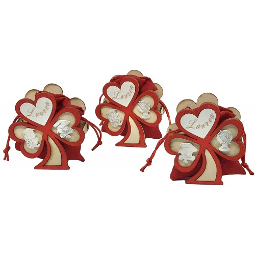 Set da 12 Trifoglio in legno scritta Laurea con sacchetto, da 9 cm, per bomboniere