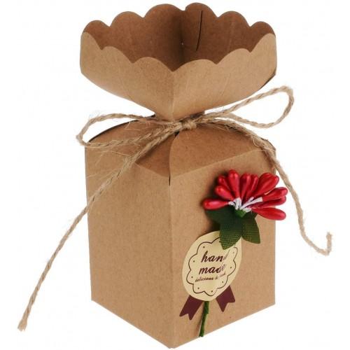 Set da 50 scatoline con fiore rosso, bomboniere laurea