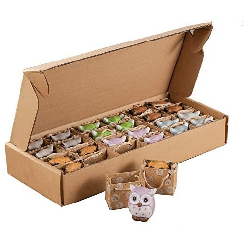 Scatola con 24 bomboniere Gufi in ceramica, 6 colori assortiti