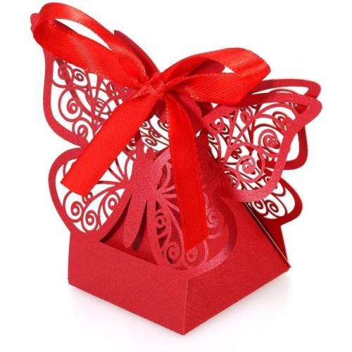 Set da 20 Scatole rosse con Farfalla decorativa, per bomboniere