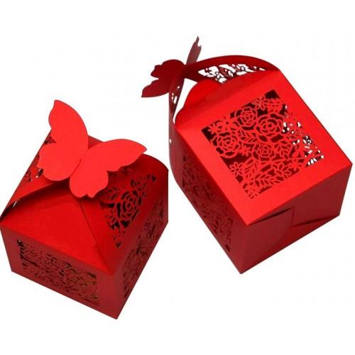 Set da 50 scatoline rosse con farfalle, in carta iridescente