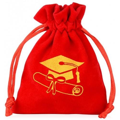 Set da 25 Sacchetti rossi laurea con stampa tocco oro