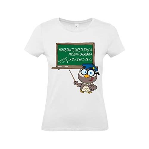 T-Shirt neo Laureata  con scritte simpatiche, gadget per feste