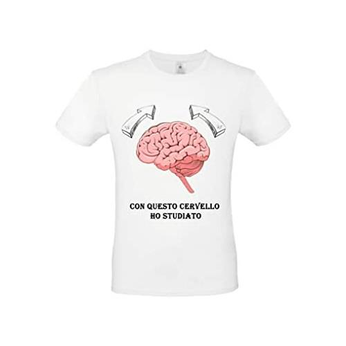 Maglietta Laureato con stampa cervello, bianca, unisex