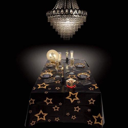 Tovaglia party VIP, nero e oro con stelle, per feste a tema