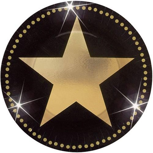 Set da 8 Piatti di carta stella di Hollywood da 18 cm, piattini dessert