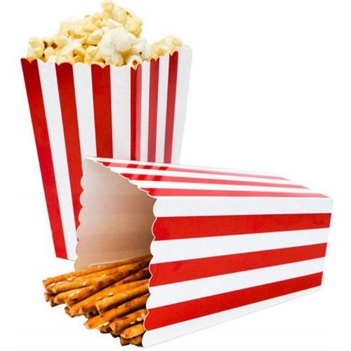 Set da 24P Scatole di Popcorn a strisce rosse e bianche