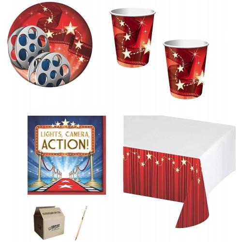 Kit per 40 persone tema Cinema Hollywood, coordinato tavola